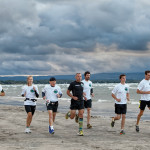 Members of the Georgian Triangle Running Club train on Wasaga Beach (l-r): Mark Bannerman, Cheryl Lloyd, Jim O'Donnell, Nick Brindinsi (in black), Corne VanVuuren, Tom Bridinski, Glen White.