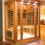 The infrared sauna (from Great Saunas in Kitchener) helps with muscle aches and injuries from all the work the couple has done on the property.