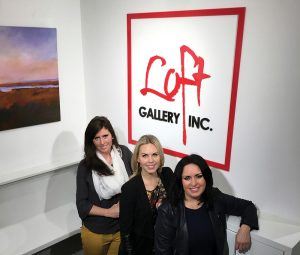 Loft Gallery owner Heather Carroll (right), Mia Walker of MW Designs (centre) and Samantha Pollock of Sparrow Blue Marketing (left) at the gallery's new location in downtown Thornbury.
