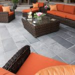 The latest trends in patio design include covered patios and flagstone patios at ground level that are an extension of the indoor space.