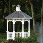A gazebo provides privacy, a refuge from rain and sun, and a fanciful element to an outdoor space.