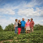 The Dykstra family on their Clarksburg strawberry farm (l-r): daughter Chelsey, Karen and Roger Dykstra, Jane and Sid Dykstra.