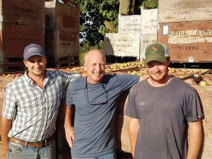 John Ardiel (centre) and his sons Greg (left) and Liam (right) carry on the family's Beaver Valley apple legacy with Ardiel Cider House ciders at Georgian Hills Vineyards.