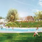 The Collingwood Waterfront Master Plan includes a splash pad surrounding an Indigenous Gathering Space and a pedestrian piazza that extends from the downtown to the waterfront, with reminders of the town's shipping and shipbuilding history.