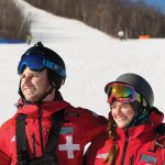 Ski patrollers Jonathan Martin and Katie Holmberg.