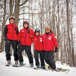 Blue Mountain ski patrollers Dicken Worsley, Mike Scholte, Jen Scholte and Lyle Plater.