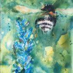 "Martha Bull – ""Bee and Delphinium,"" 6 x 8 inches, watercolour on board"