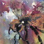 "Martha Bull – ""Bee in Purple Sky,"" 6 x 6 inches watercolour on board"
