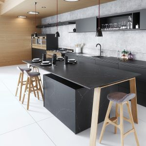 Silestone charcoal soapstone countertops reflect the latest trend toward hones and matte finishes.