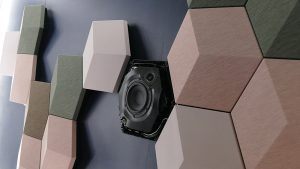 The BeoSound Shape speaker system by Bang and Olufsen are sculpture-like speakers that come in a variety of shapes and colours that can be assembled to look like wall art.